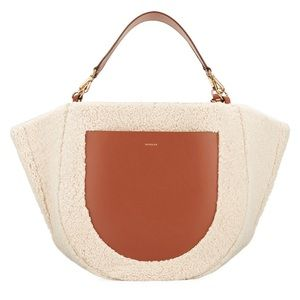 WANDLER Mia Shearling large Leather Tote